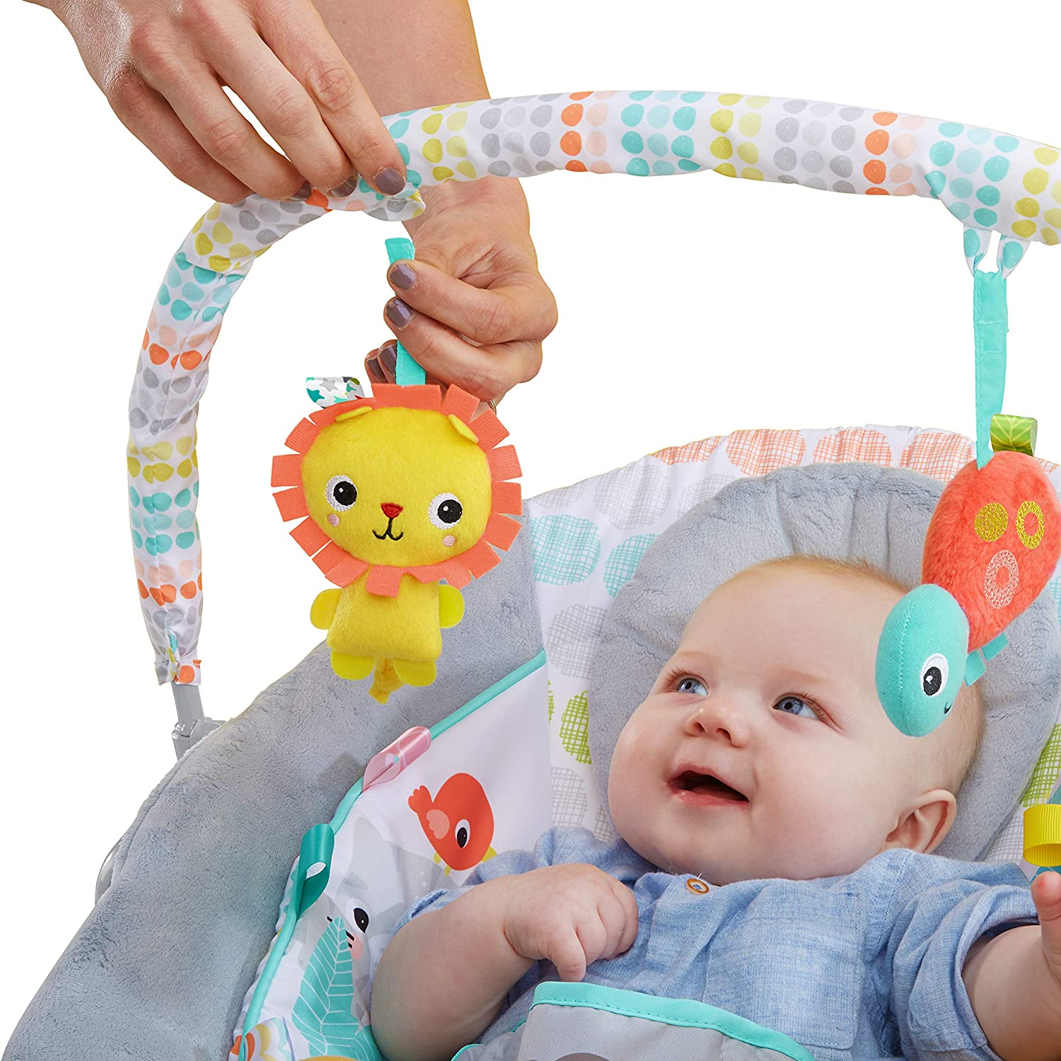 Bright Starts Whimsical Wild Cradling Bouncer Seat with Soothing Vibration /& Melodies