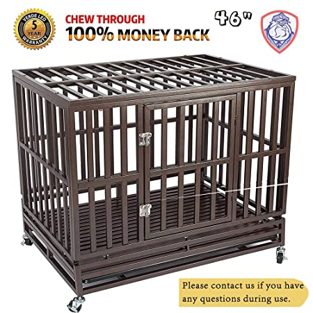 Haige Pet Your Pet Nanny Heavy Duty Dog Cage Kennel Crate Playpen Metal Strong for Training Large Dogs Indoor Outdoor with Door Locks Design Included Lockable Wheels, Easy to Install