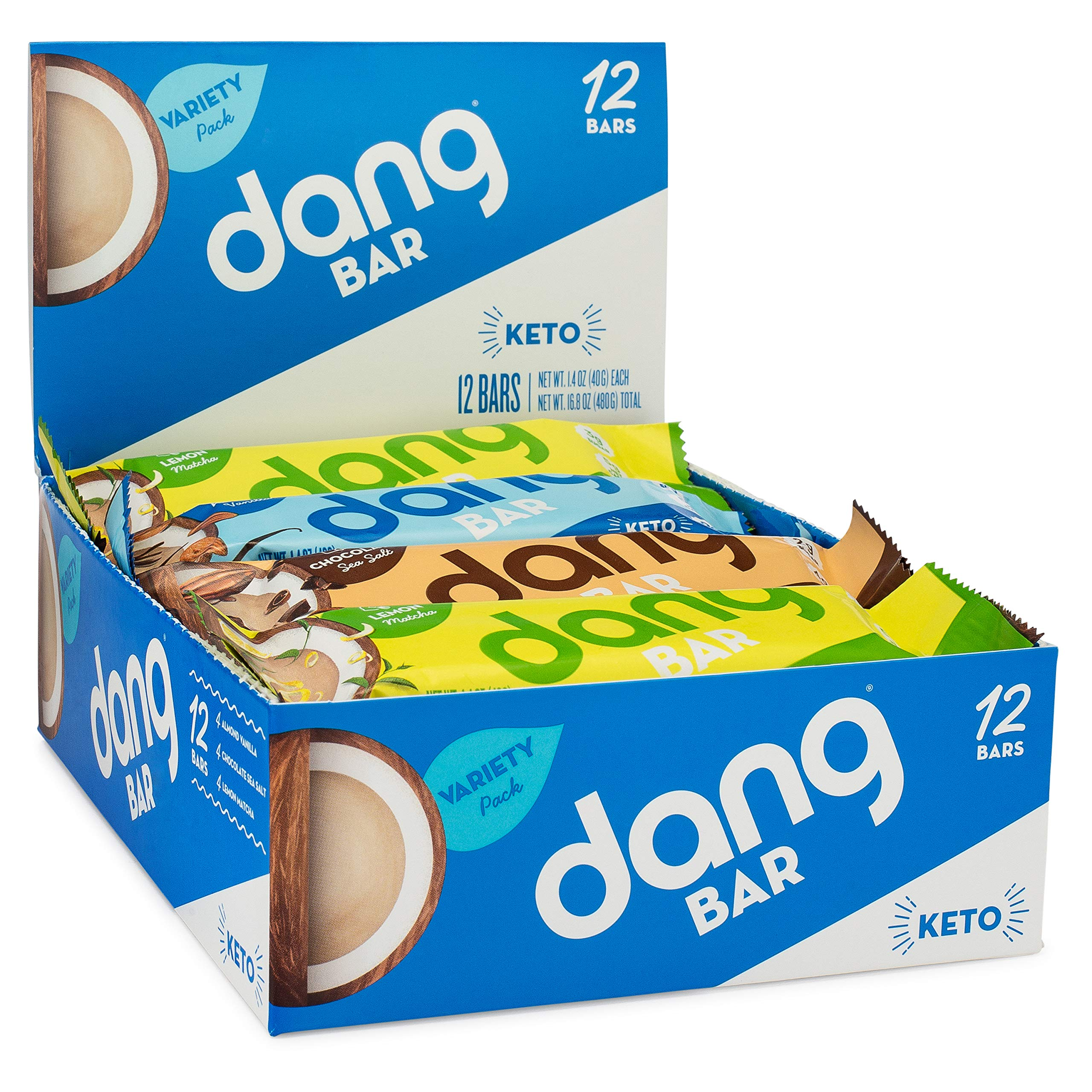 Dang Bar - KETO CERTIFIED, Low Carb, Plant Based, Gluten Free, Real Food Snack Bar, 2-3g Sugar, 4-5g Net Carbs, No Sugar Alcohols or Artificial Sweeteners, 12 Count (3 Flavor Variety Pack) by DANG