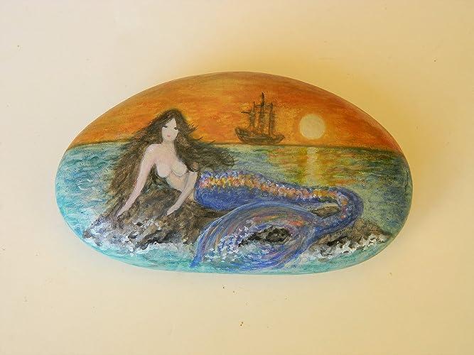 a7a097de Amazon.com: Blue Mermaid Hand Painted on a Spanish Beach Rock: Handmade