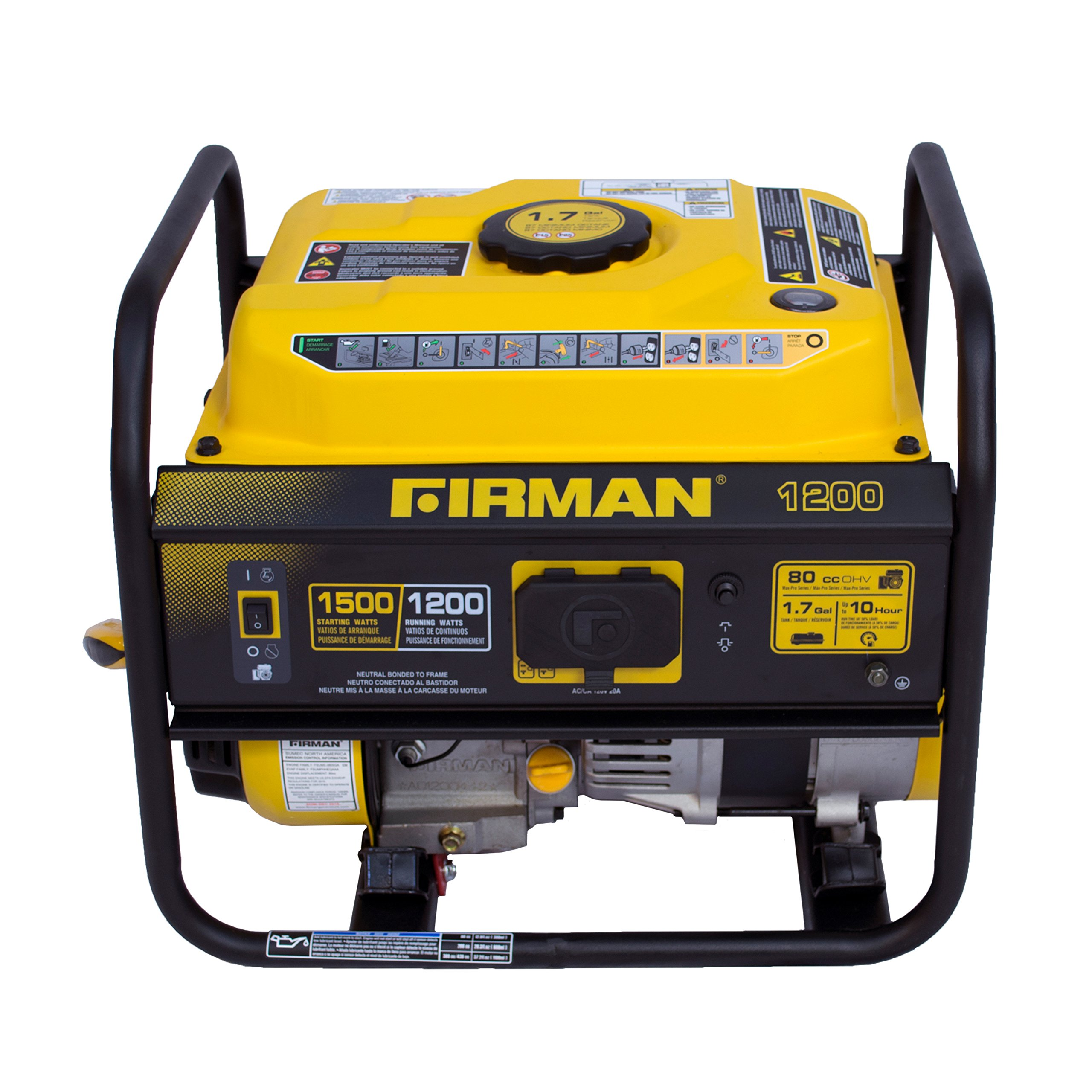 Firman P01201 1500/1200 Watt Recoil Start Gas Portable Generator cETL and CARB Certified, Black by Firman