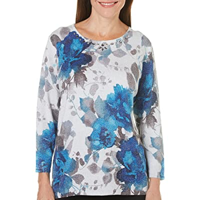 Alfred Dunner Women's Watercolor Floral Sweater with Embellishment at Women's Clothing store