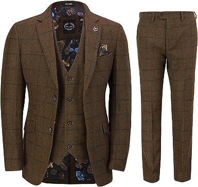 New Men's Waistcoat Retro Oak Brown Tweed Herringbone Check Vintage Smart Casual