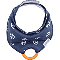 Dr Brown's Bandana Bib w/Teether, Anchors (Blue With Orange Teether), 1-Pack