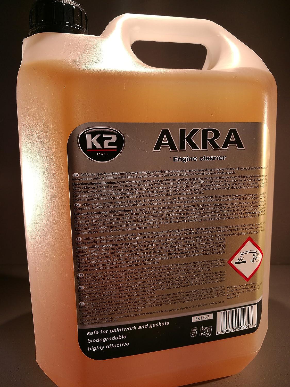 K2   Akra Motorwä sche, Motorreiniger entfernt hartnä ckigen Schmutz bei Motoren, Werkzeuge und Bö den, umweltfreundlich und effektiv, Kanister 5L