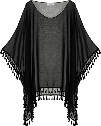 Soul Young Women S Plus Size Swimsuit Cover Up Beach Tassel Chiffon Pool Swimwear Dress For Summer One Size Black At Amazon Women S Clothing Store