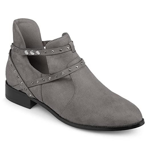 Womens Side Cut-out Studded Wrap Strap Ankle Booties