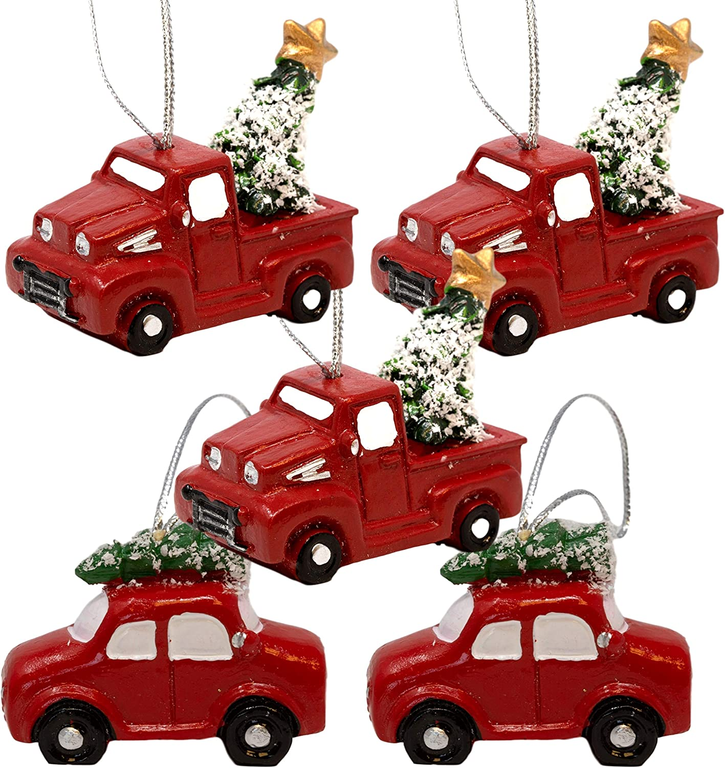 BANBERRY DESIGNS Red Truck Christmas Decorations - 3 Pickup Trucks and 2 Cars Carrying Christmas Trees for The Holidays - Vintage Farmhouse Christmas Ornaments - Approx. 2 Inches
