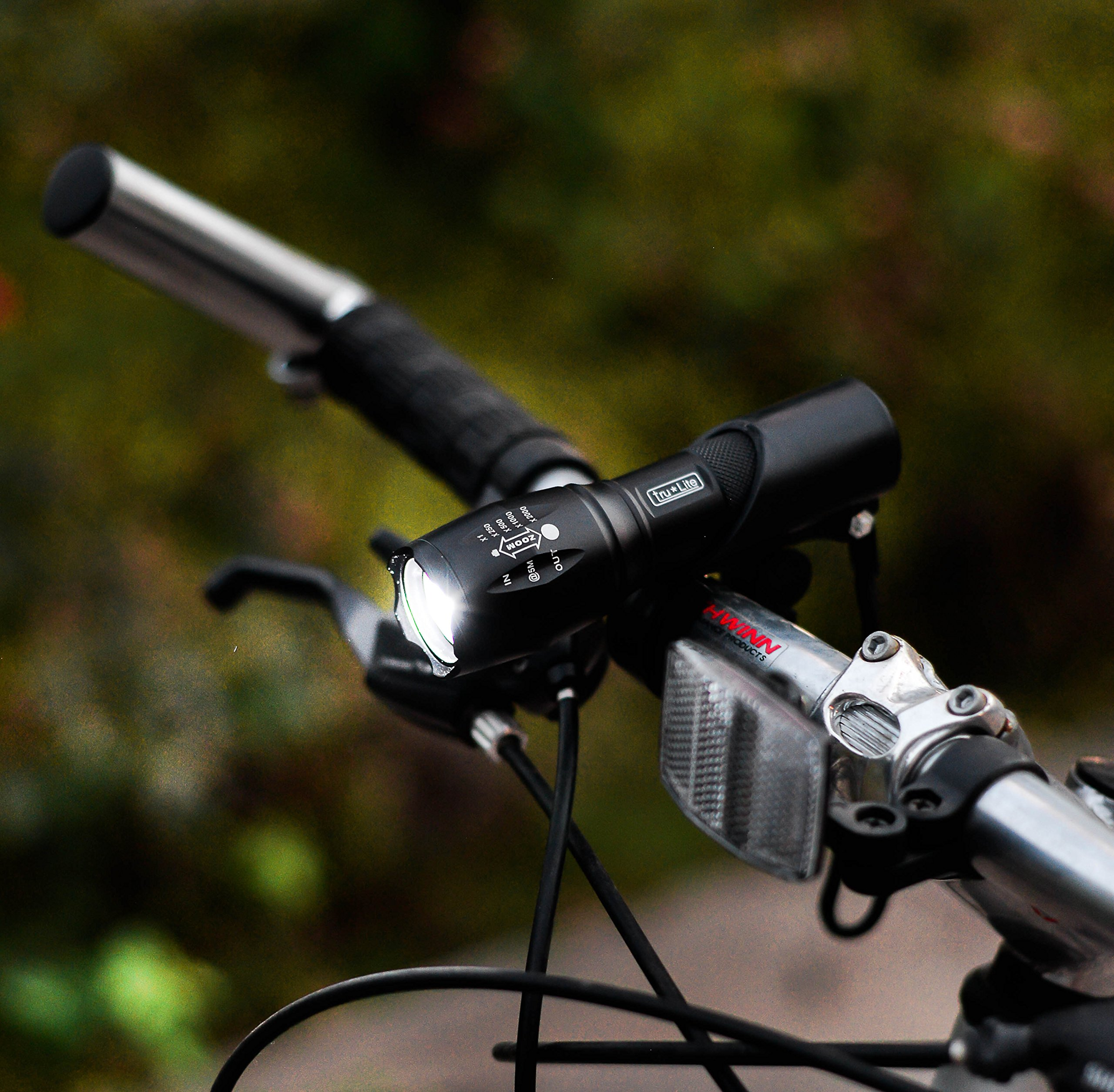tru*Lite Bike Light Set-Super Bright 10W Removable Military Grade Tactical Flash Light-5 modes-1000+ Lumens-Zoom-5 LED Tail Light-7 modes-Water Resistant-Easy to Install-Life Time Warranty by tru*Lite (Image #2)