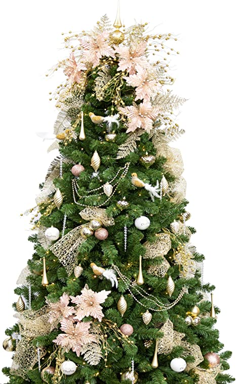 Amazon Com Ki Store 7ft Artificial Christmas Tree With Ornaments And Lights Rose Gold Champagne Christmas Decorations Including 7 Feet Full Tree 147pcs Ornaments 2 Pcs 59ft Usb Mini Led String Lights Home