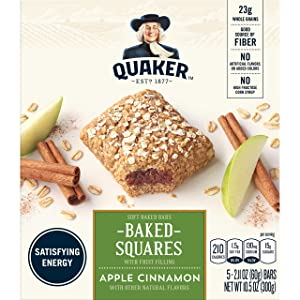 Quaker Baked Squares, Soft Baked Bars, Apple Cinnamon, 5 Bars