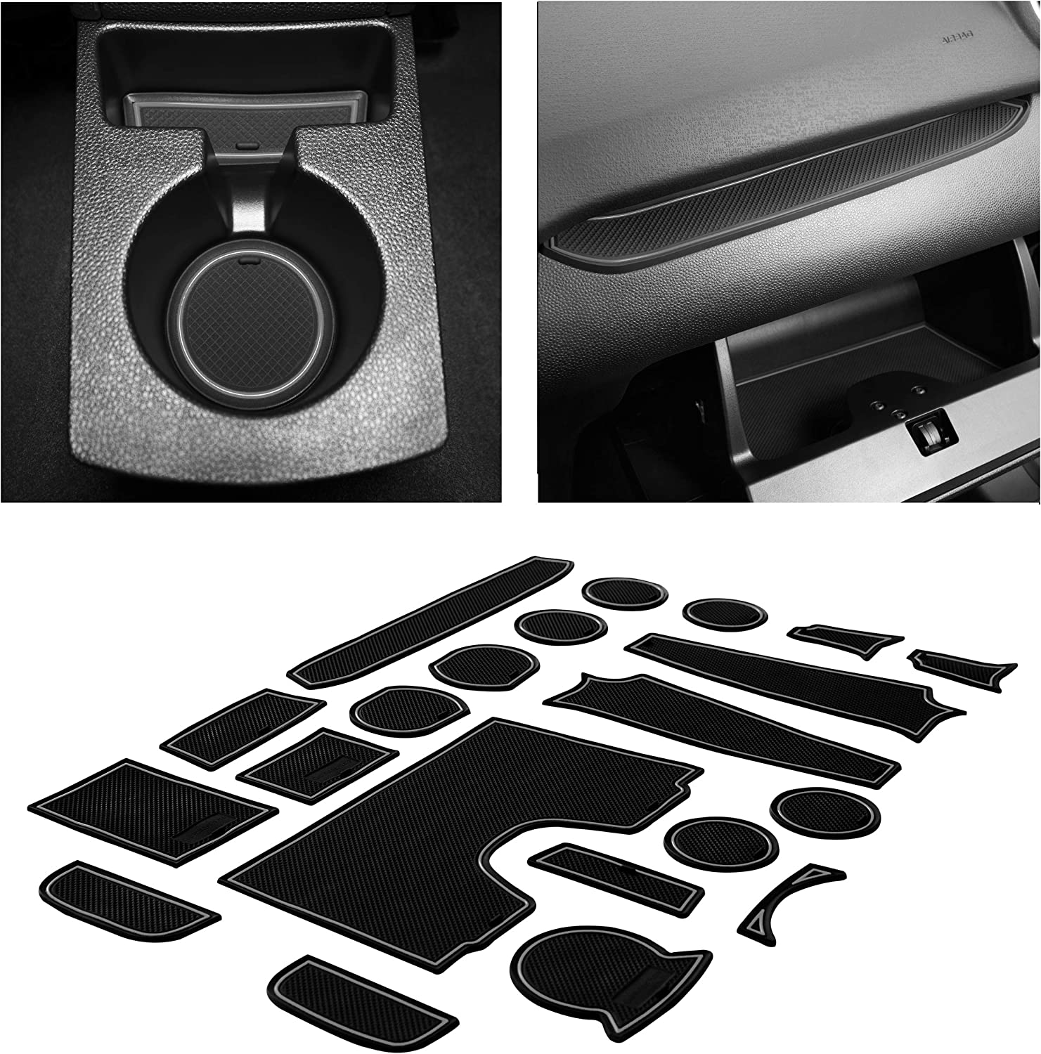 CupHolderHero fits Ford Fusion Accessories 2013-2016 Premium Custom Interior Non-Slip Anti Dust Cup Holder Inserts Door Pocket Liners 23-pc Set Center Console Liner Mats Gray Trim