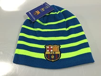 Amazon Com Fc Barcelona Blue Neon Winter Beanie One Size Fits Most Sports Outdoors
