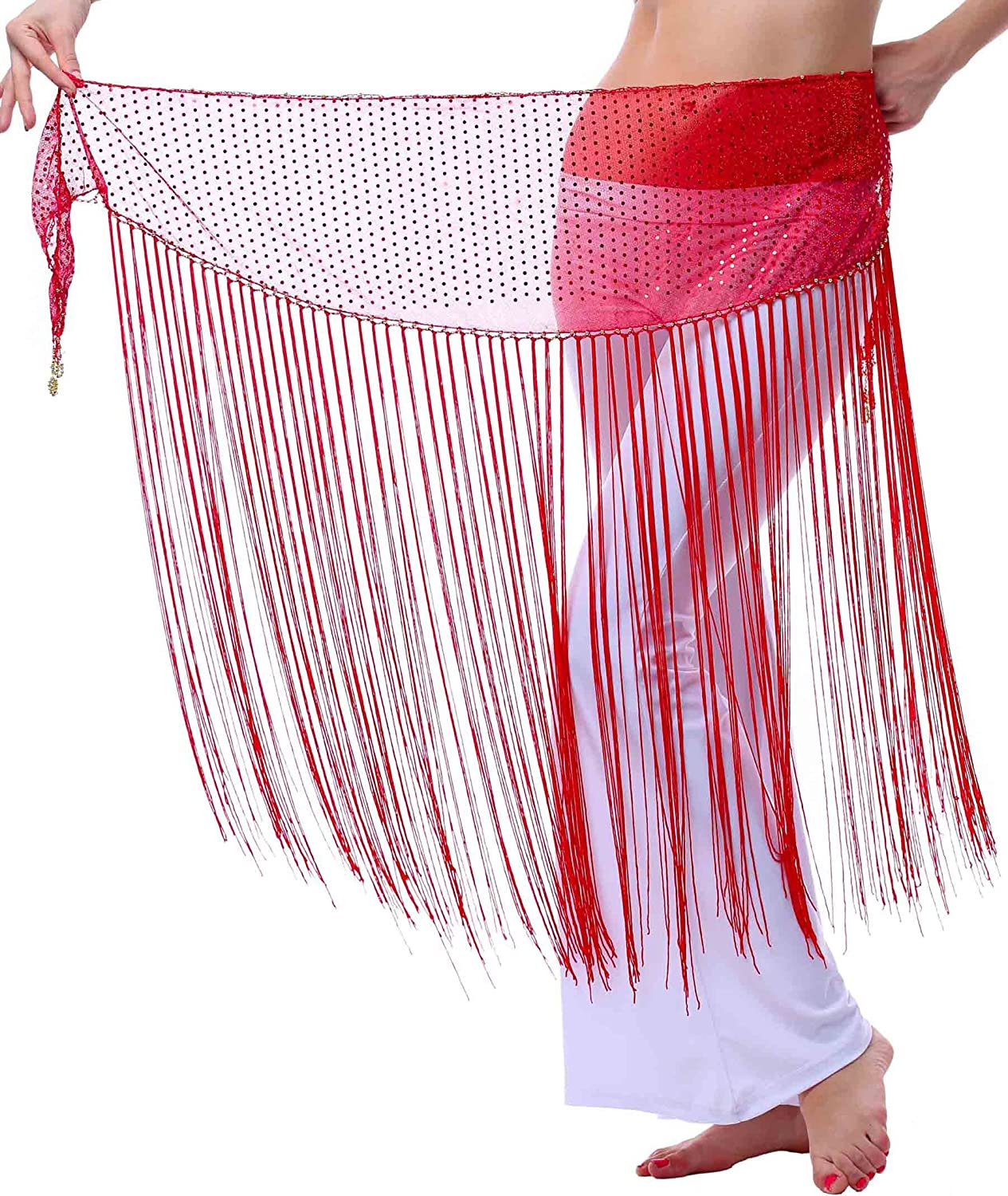Fairycece Halloween Belly Dance Flaring Hip Scarf Triangle Long Fringe Tassels