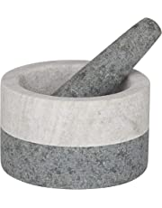 Davis & Waddell DES0187 Akin Granite/Marble Mortar & Pestle, Beige/Grey