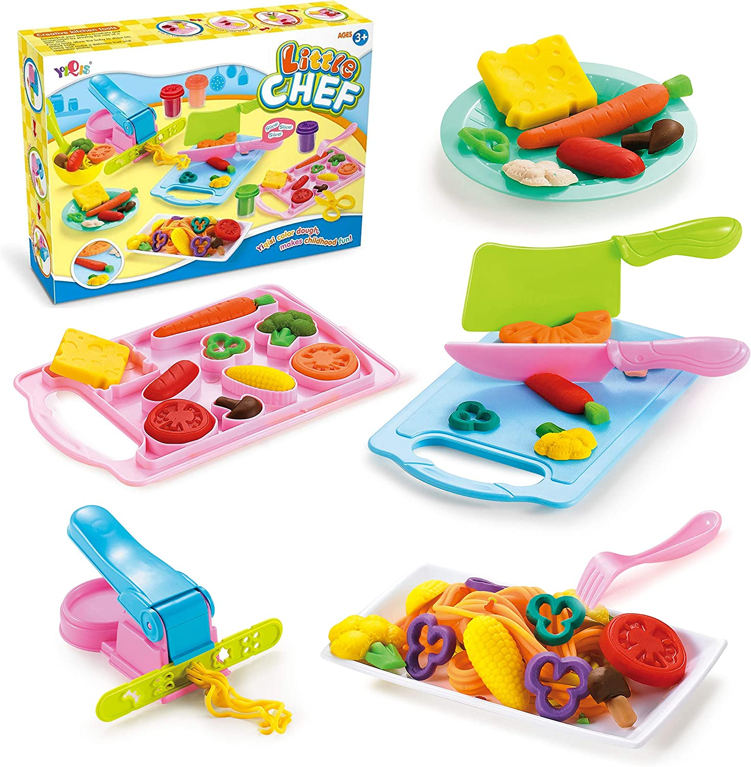 JHONG Play Dough Toys for Kid Kitchen Creations Little Chef playdough Set Games