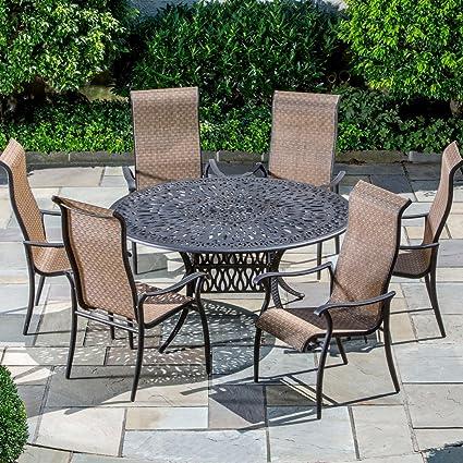 Alfresco Home Patio Furniture.Amazon Com Alfresco Home Charter Cast Aluminum 6 Seat Dining Set