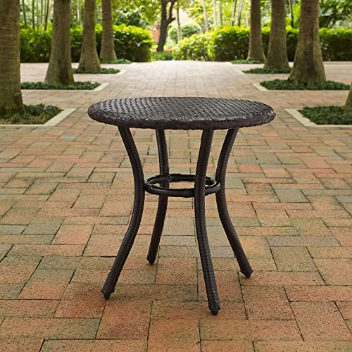 Crosley Furniture CO7217-BR Palm Harbor Outdoor Wicker Round Side Table