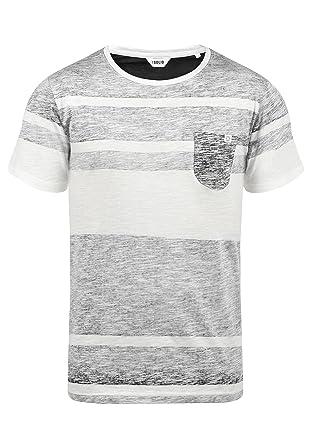 fa1dd32e6329 Solid Sluby Herren T-Shirt Kurzarm Shirt Mit Streifen Und  Rundhalsausschnitt 100% Baumwolle