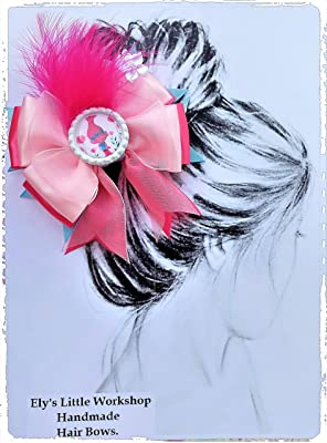 Trolls Hair Bow, Disney inspired in POPPY character, 100% Handmade, French Barrette clip 2