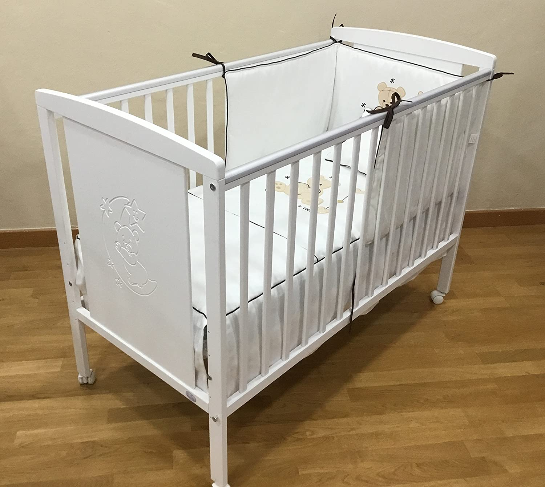 Cuna para bebé, modelo Oso Dormilón + Colchón Viscoelástica + edredón y chichonera Beig (caja musical de regalo): Amazon.es: Bebé