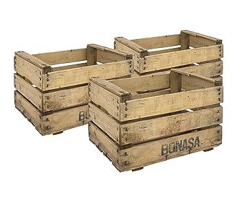decowood set de cajas de fruta madera beige 49x35x31 cm 3 unidades - Cajas De Frutas