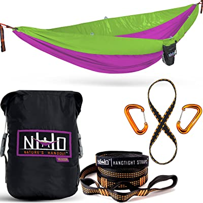 Double Camping Hammock - Portable Two Person Parachute Hammock for Outdoor Hanging. Heavy Duty & Lightweight, Best for Backpacking & Travel. Meadow Edition (Magenta/Light Green): Sports & Outdoors