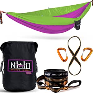 HangEasy Portable Camping Hammock - Premium Adjustable Hanging Straps & Ultralight Carabiners. Tear Resistant Parachute Nylon. Large Double Size, Lightweight & Easy To Fit In Your Backpack