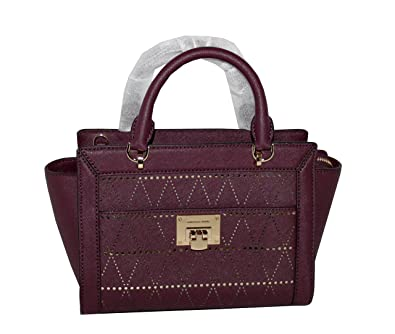 d96bb10ef87e MICHAEL Michael Kors Women s TINA Small Top Zip Messenger leather shoulder  Handbag (Plum)  Handbags  Amazon.com