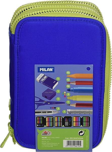 Milan 81364FH5GR - Estuche 3 pisos, color azul: Amazon.es: Oficina y papelería