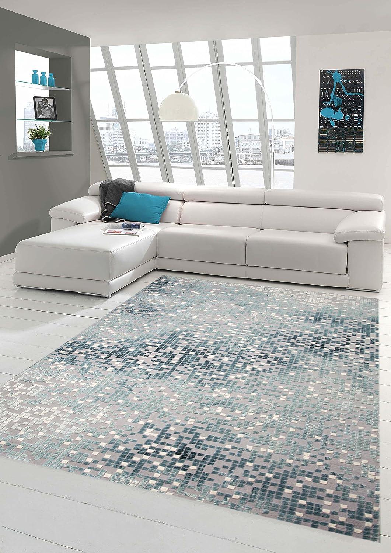 Traum Teppich Designerteppich Moderner Teppich Wohnzimmerteppich Kurzflor mit Konturenschnitt Kariert in Grau Türkis Weiß, Größe 160x230 cm