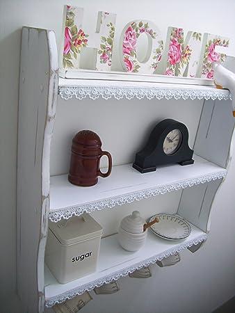 Mensole da cucina con ganci per tazze e merletto, grande, per ...
