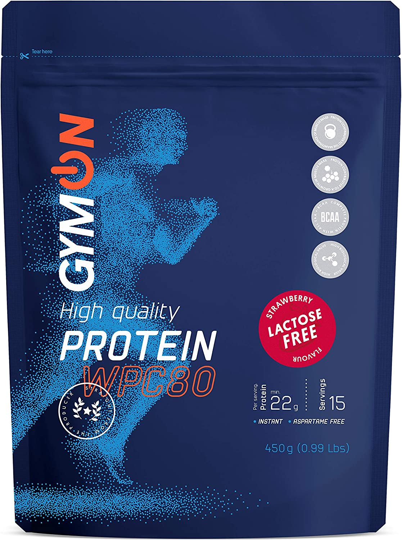 GYMON Lactose Free Whey Protein. Concentrado de proteína de suero de leche, 450g (Fresa)