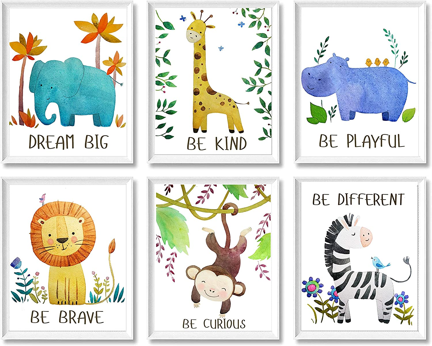 Baby Nursery Decor Jungle Safari Animal Unframed Wall Art -Set of 6 Posters 8x10 - Lion, Giraffe, Elephant, Monkey, Zebra, Hippo
