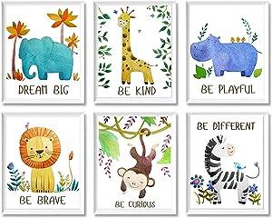 Baby Nursery Decor Jungle Safari Animal Unframed Wall Art -Set of 6 Posters 8x10 - Lion, Giraffe, Elephant, Monkey, Zebra, Hippo