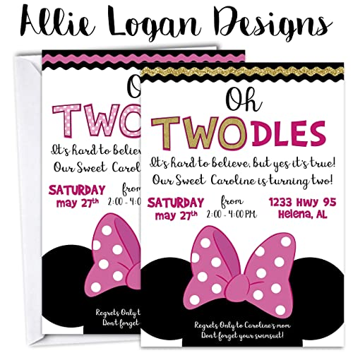 Amazoncom Minnie Mouse Birthday Invitation Oh ToodlesAny - Minnie mouse birthday invitation images