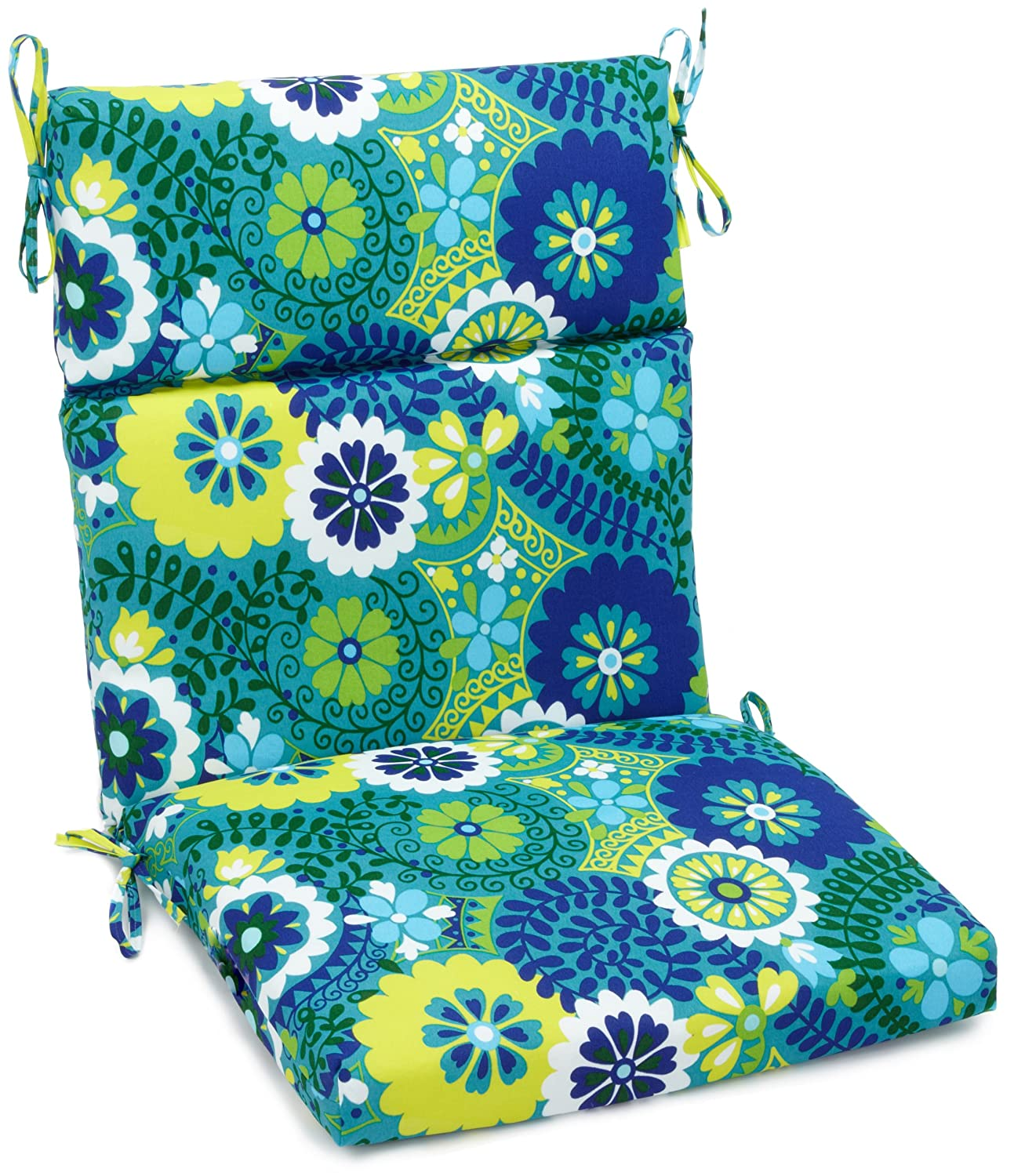 Blazing Needles Outdoor Spun Poly 22-Inch by 45-Inch by 3-1 2-Inch 3-Section Chair Cushion, Luxury Azure