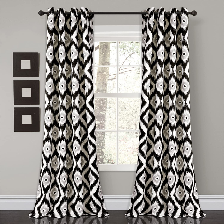 "Lush Decor Diamond Ikat Room Darkening Window Curtain Panel Pair, 84"" x 52"", Black"