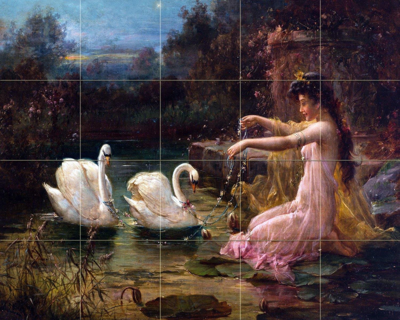 lady at the swan lake h zatzka tile mural kitchen backsplash art lady at the swan lake h zatzka tile