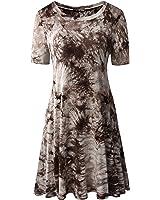 Zero City Women's Short Sleeve Casual Tie Dye Cotton Tunic T-shirt Dresses