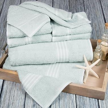 Bedford Home Rio 8 Piece  Cotton Towel Set - Seafoam