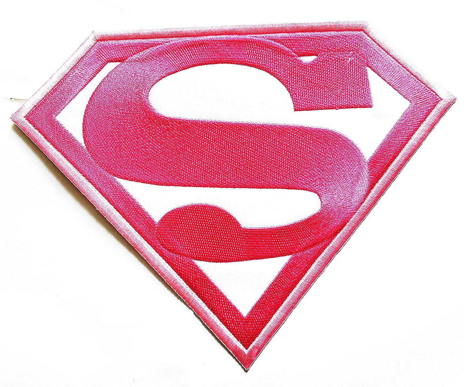 9.2 ''X 7'' Big Jumbo Pink White Superman Hero Superhero Movie Cartoon Logo Jacket t-Shirt Jeans Polo Patch Iron on Embroidered Logo Motorcycle Rider Biker Patch by Tour les jours Shop