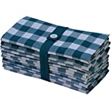 Cotton Craft 12 Pack Gingham Checks Oversized Dinner Napkins - Teal-White - Size 20x20 - 100% Cotton - Tailored with mitered corners and a generous hem - Easy care machine wash