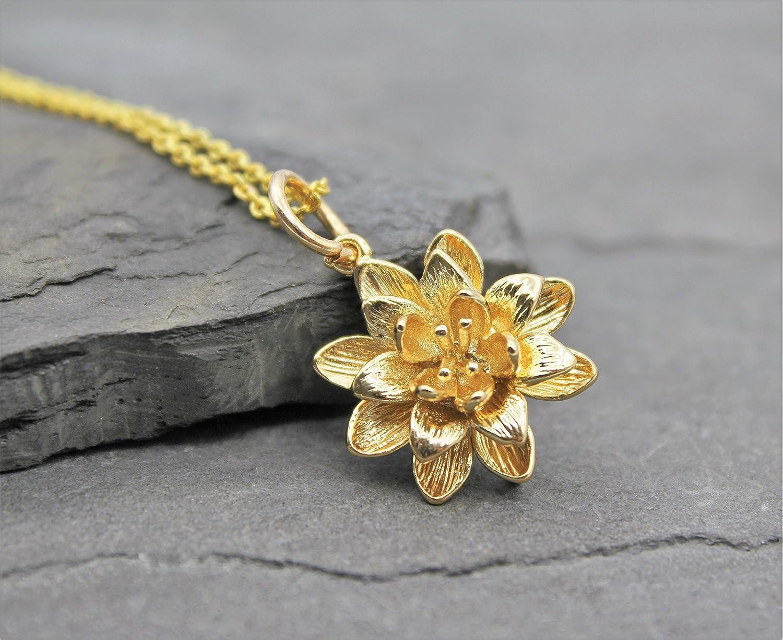 Damen Halskette Kette Anhänger Lotus Blume Schmuck Lotusblüte Blüte Lotusblume