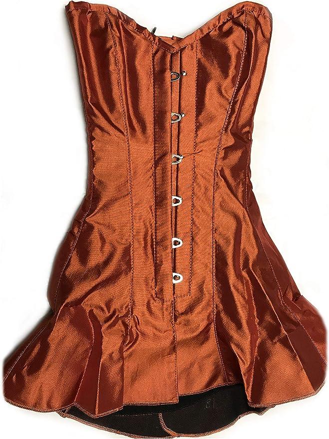 Corseted Satin Skirt Overbust Corset Orange