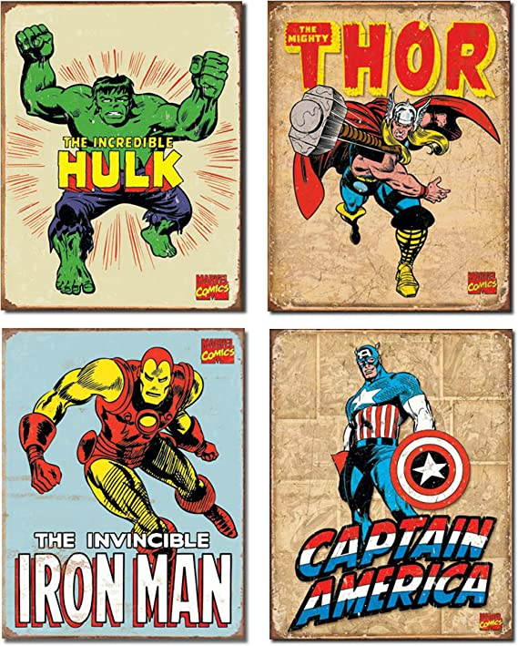 Metal Sign Vintage Look Reproduction 1972 Super Hero Wall Stick-Ons
