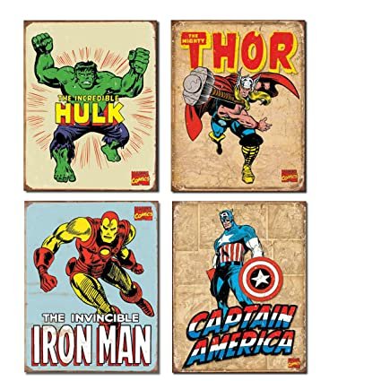 Vintage Superhero Tin Sign Bundle - The Incredible Hulk, Thor, Iron Man and  Captain America