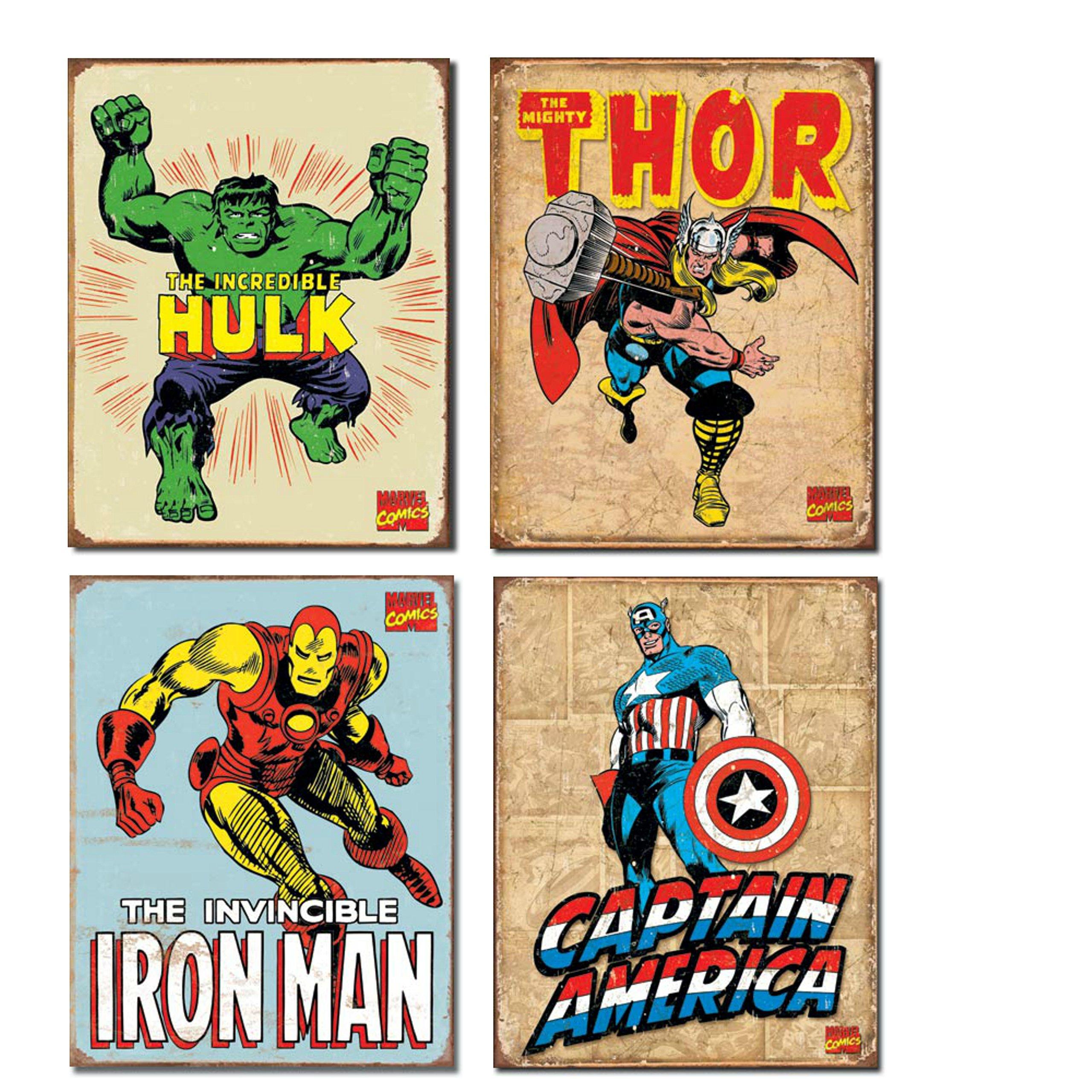 Vintage Superhero Tin Sign Bundle - The Incredible Hulk, Thor, Iron Man and Captain America.