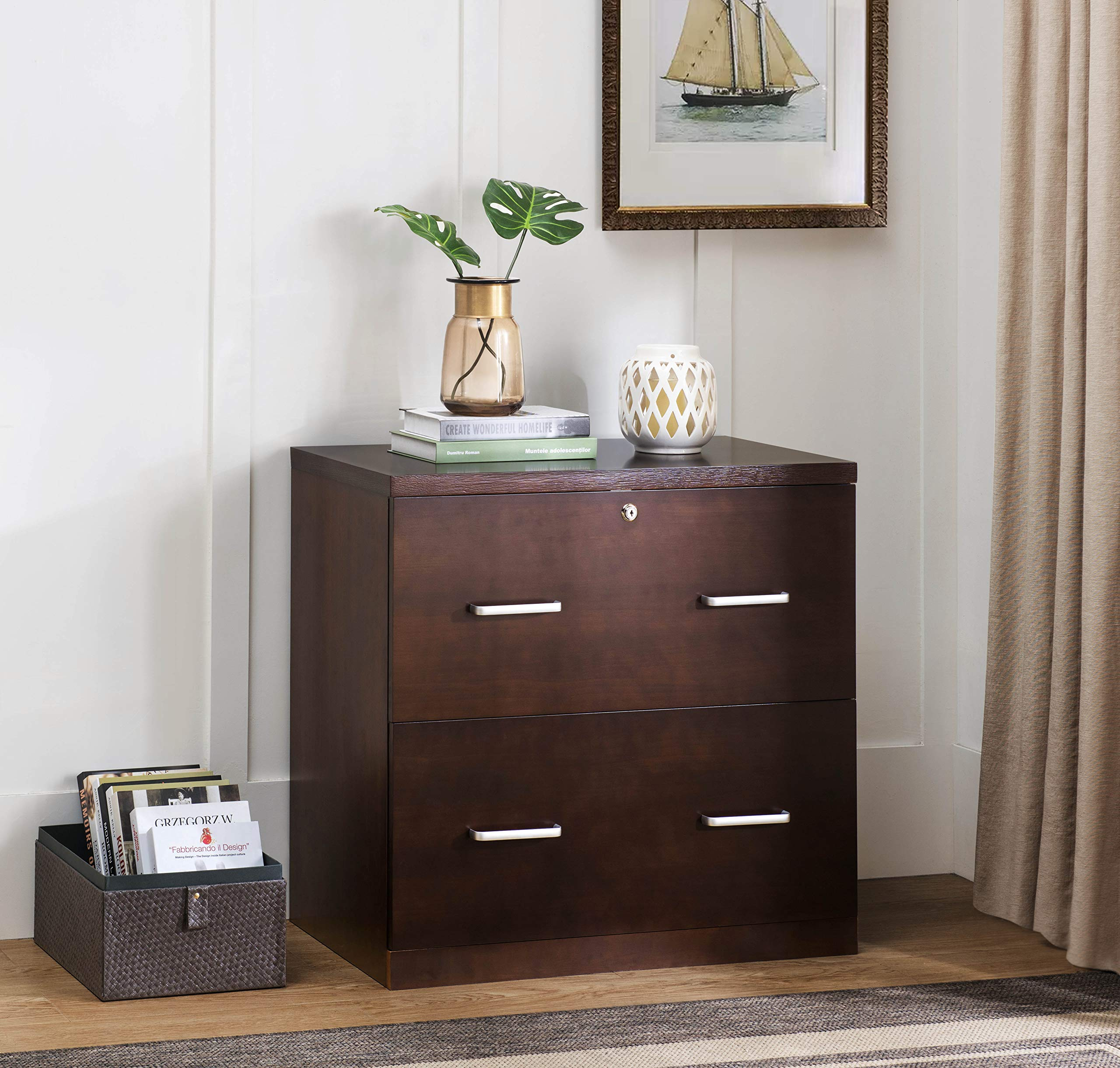 2L Lifestyle Hanover 2-Drawer File Cabinet, Brown