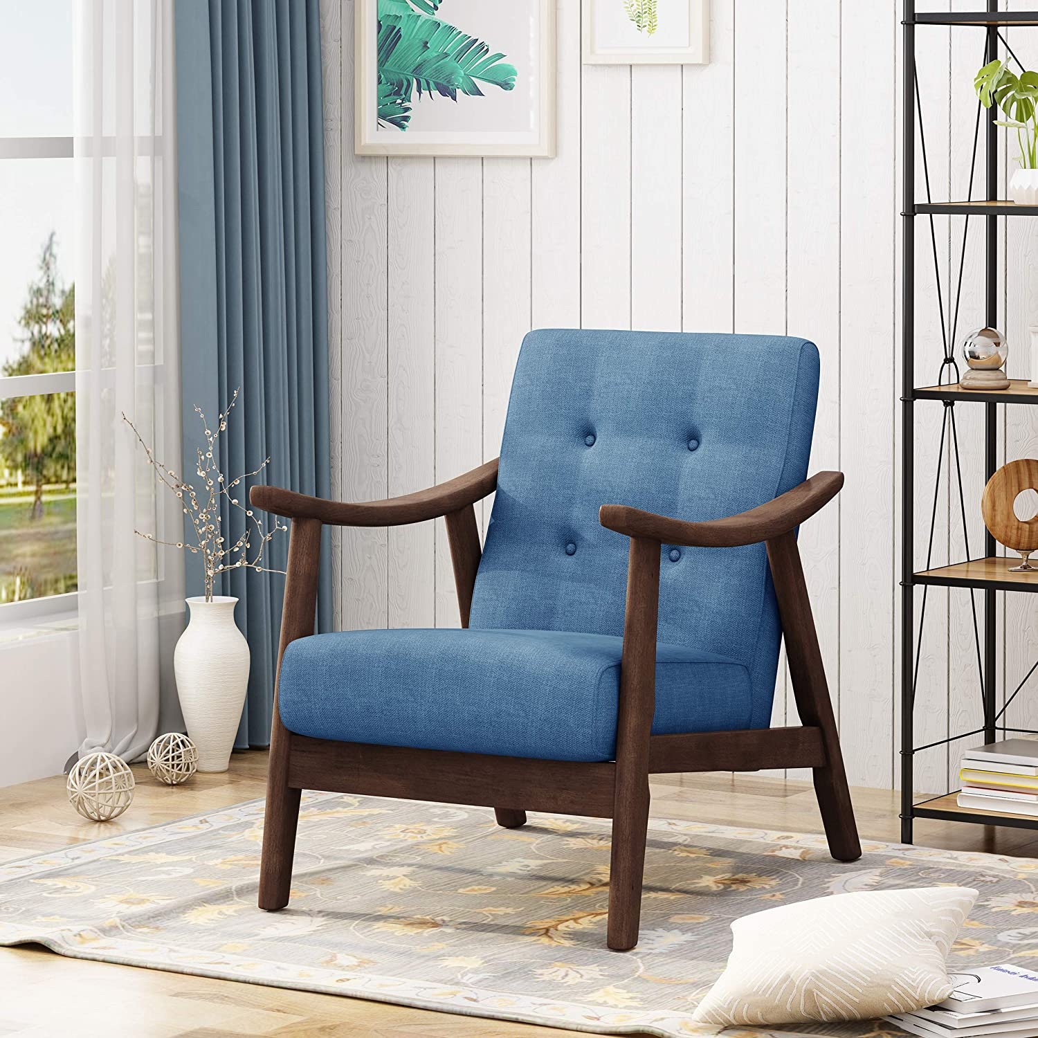 Blue Modern Accent Chairs.Great Deal Furniture 305849 Aurora Mid Century Modern Accent Chair Navy Blue Brown